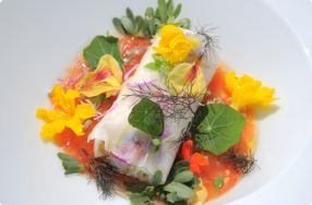 Crab Cannelloni w/ Heirloom Tomatoes & Edible Flowers