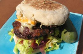 Tailgate Burger w/ Red Onion Jam & Tomato Vinaigrette