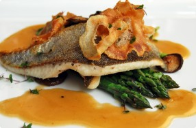 Seared Trout w/ Bacon-Sherry Beurre Blanc