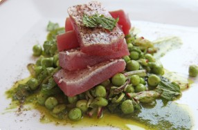 Torched Tuna & Pea Salad w/ Anchovy Vinaigrette
