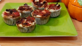 Pumpkin & Goat Cheese Muffins w/ Candied Bacon