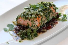 Salmon w/ Black Quinoa & Cherries