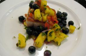 Salmon w/ Blueberry Mango Salsa
