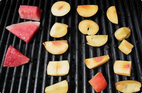 Grilled Watermelon & Peaches w/ Berry Puree