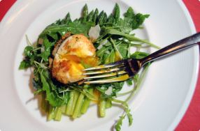 Butter Poached Asparagus w/ Crispy Fried Egg